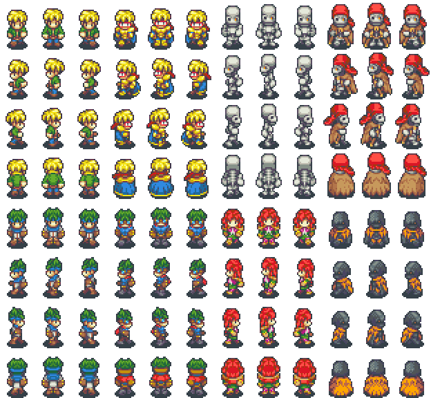 Eight character sprites